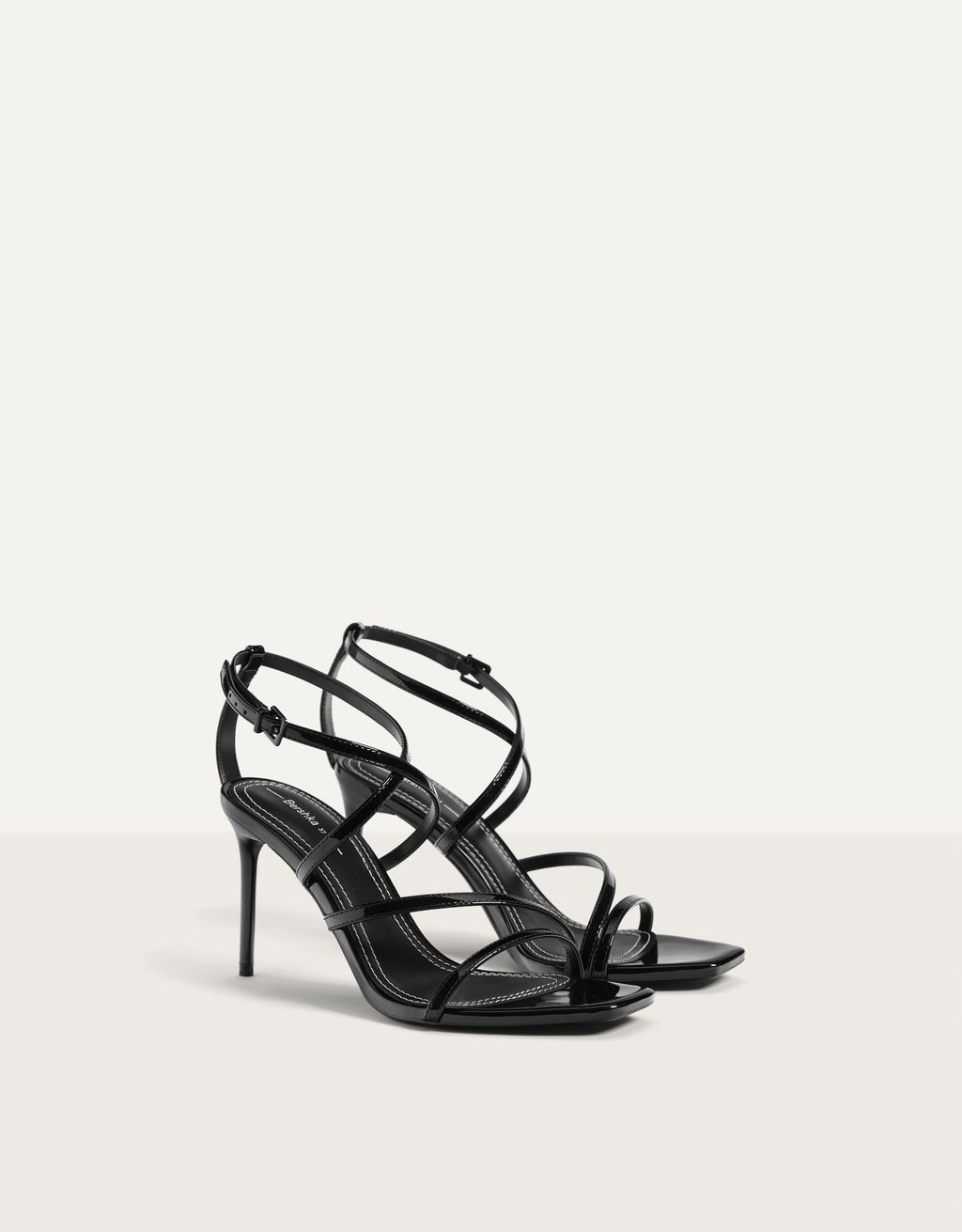 Embossed metallic high-heel sandals