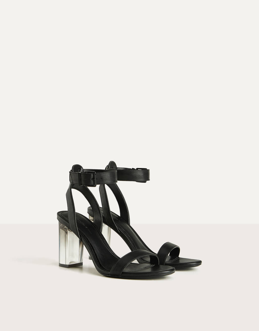 High heel sandals with methacrylate heels