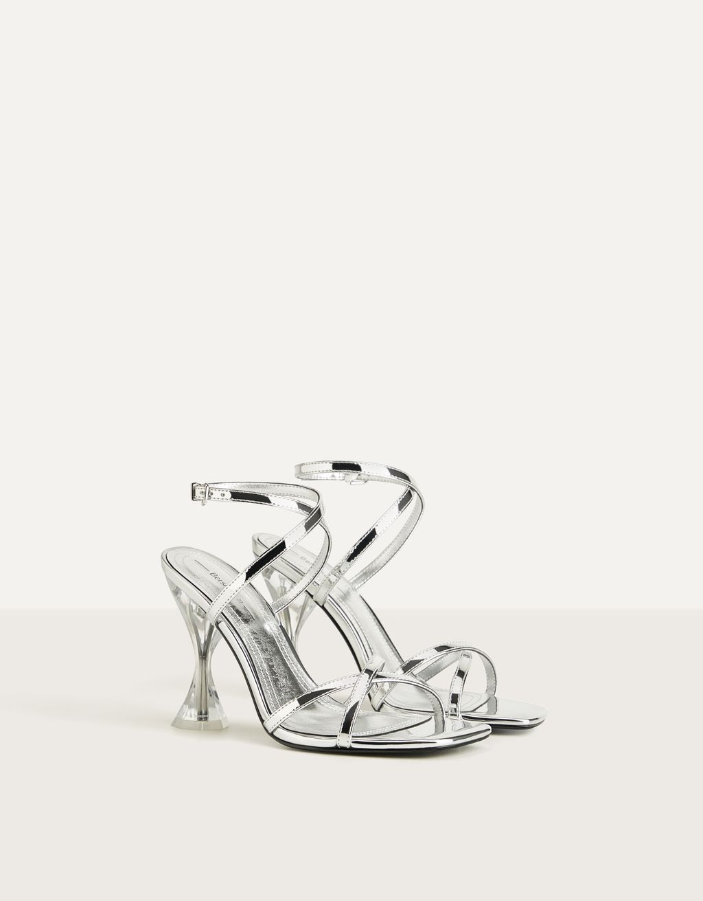 Metallic strappy sandals with methacrylate heels