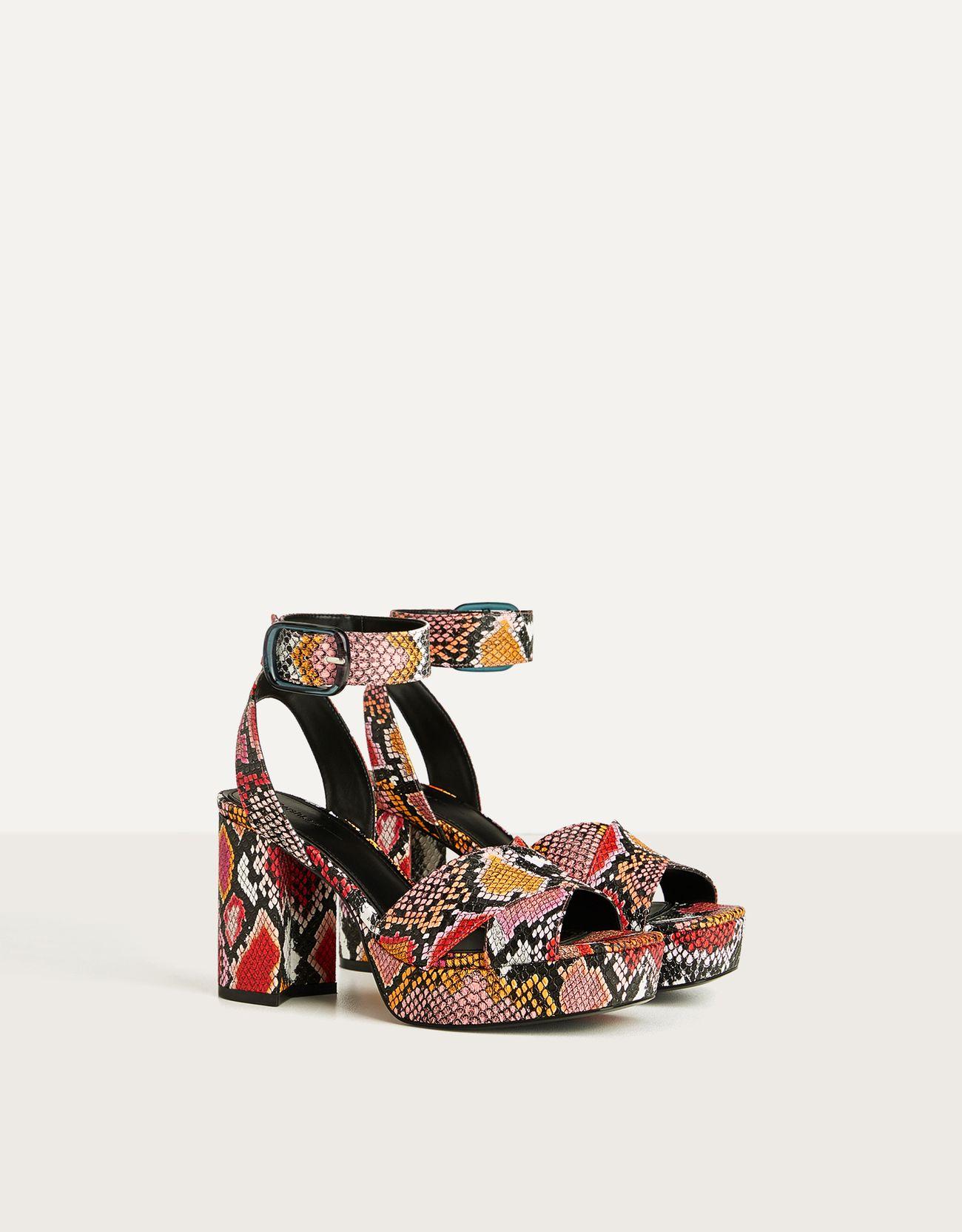 Animal print platform sandals