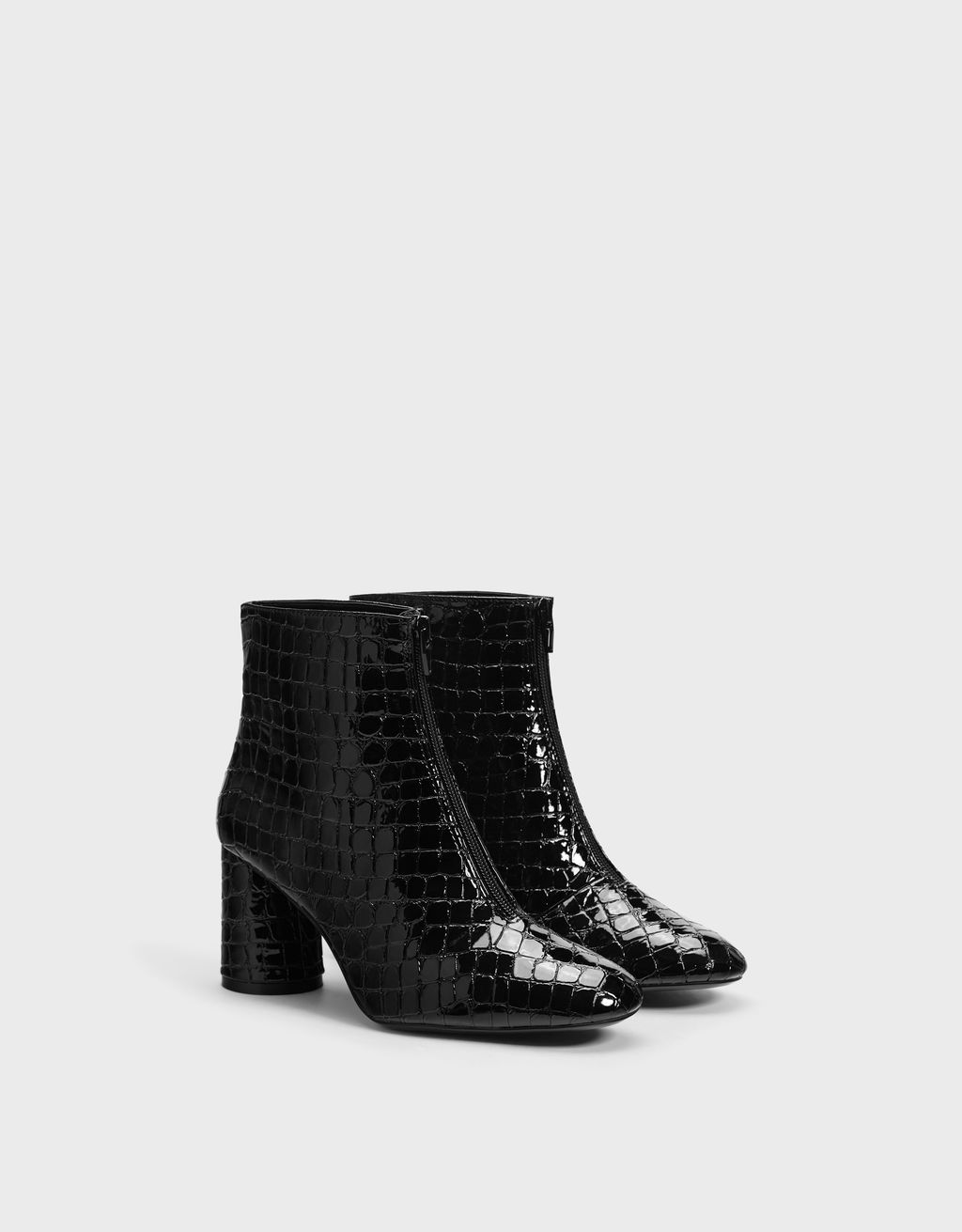 Embossed faux patent high-heel ankle boots
