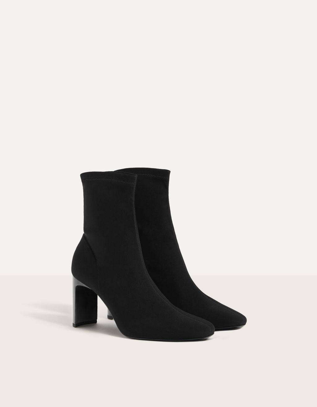 Elastic high-heel ankle boots