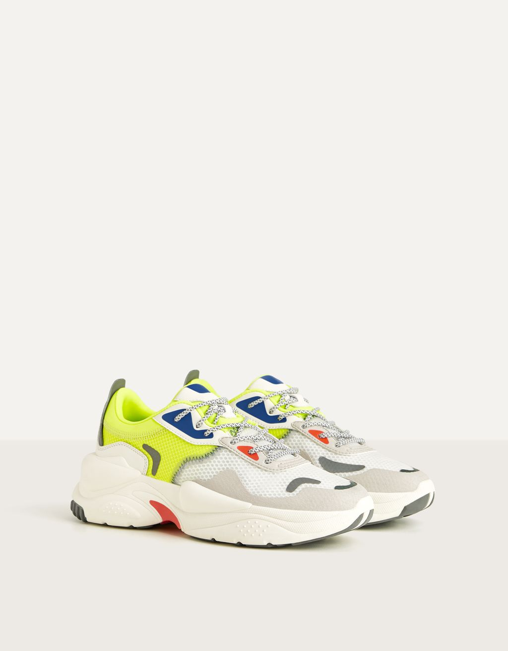 Translucent trainers with neon details