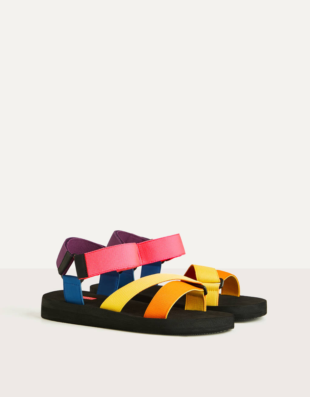 Multicoloured technical fabric sandals