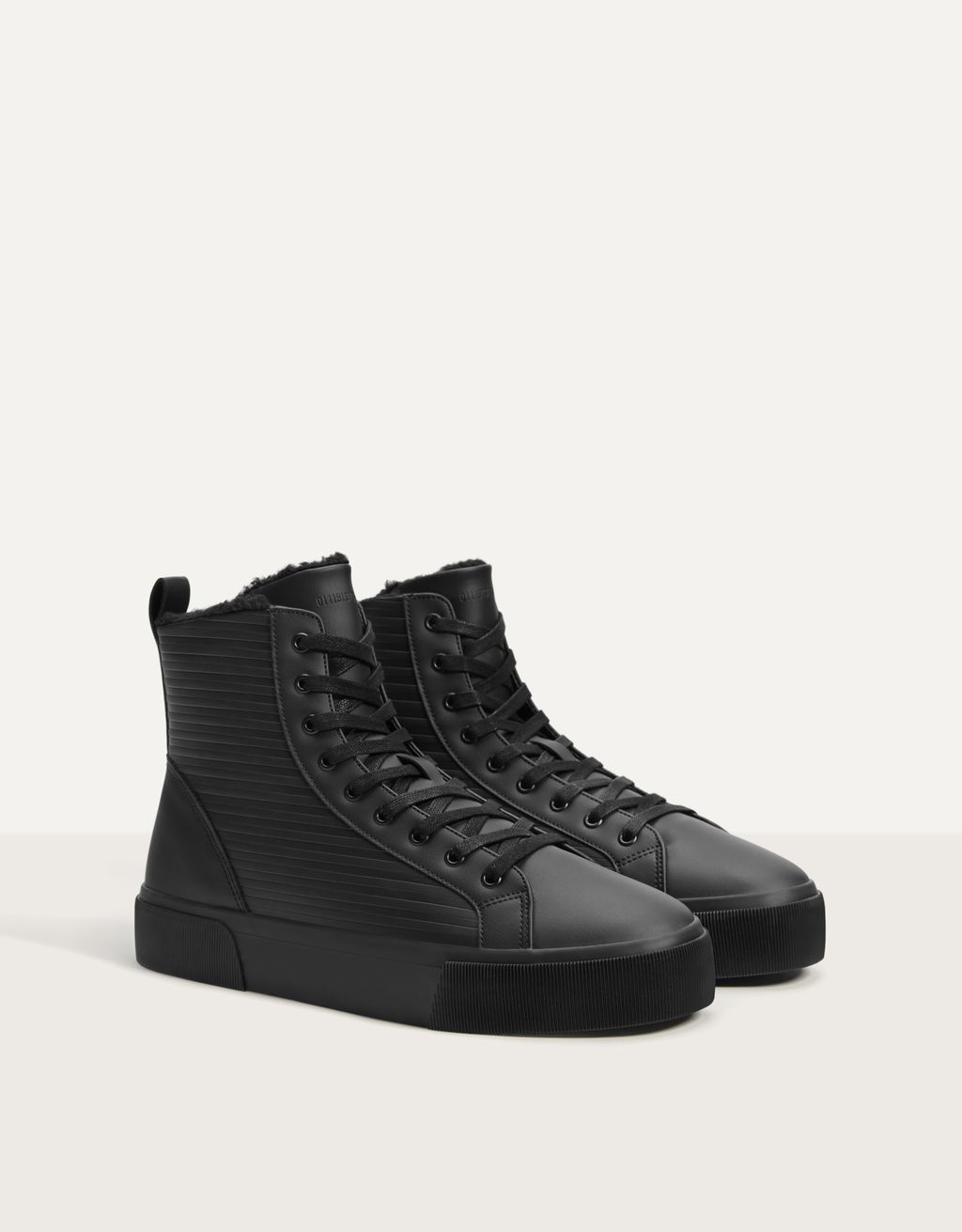 Men's lined high-top trainers