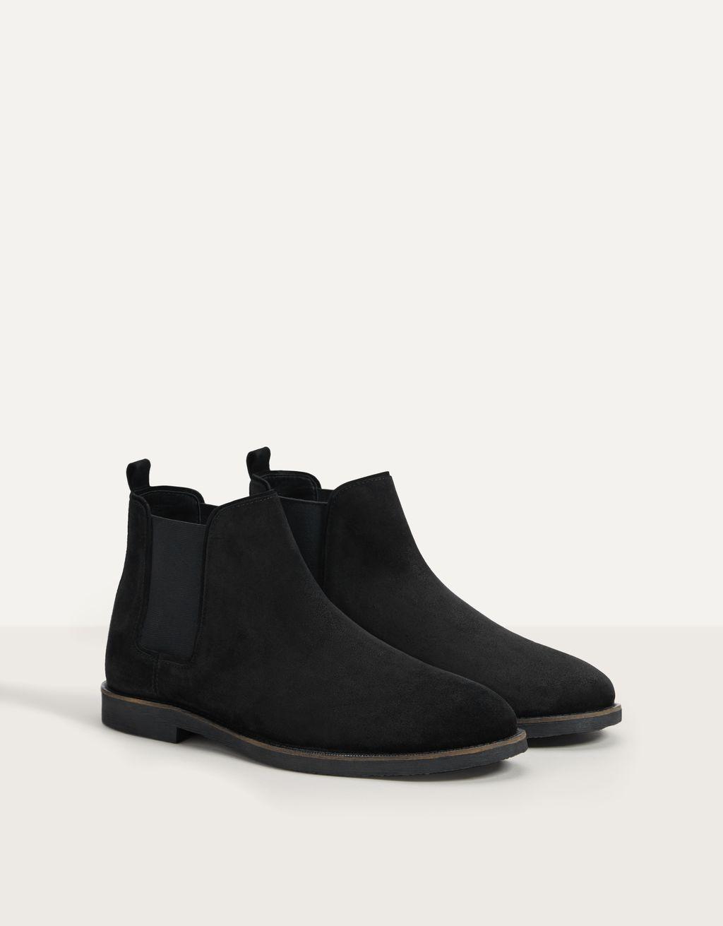 Magas szárú BŐR férfi cipő, elasztikus betéttel