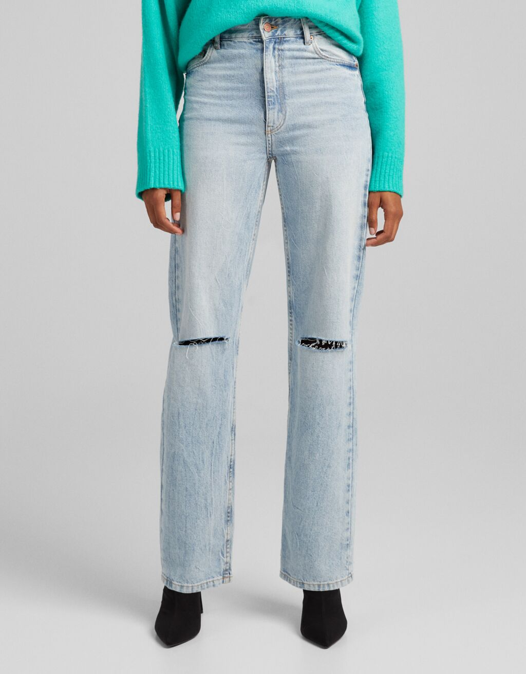 Straight fit high waist jeans with rips