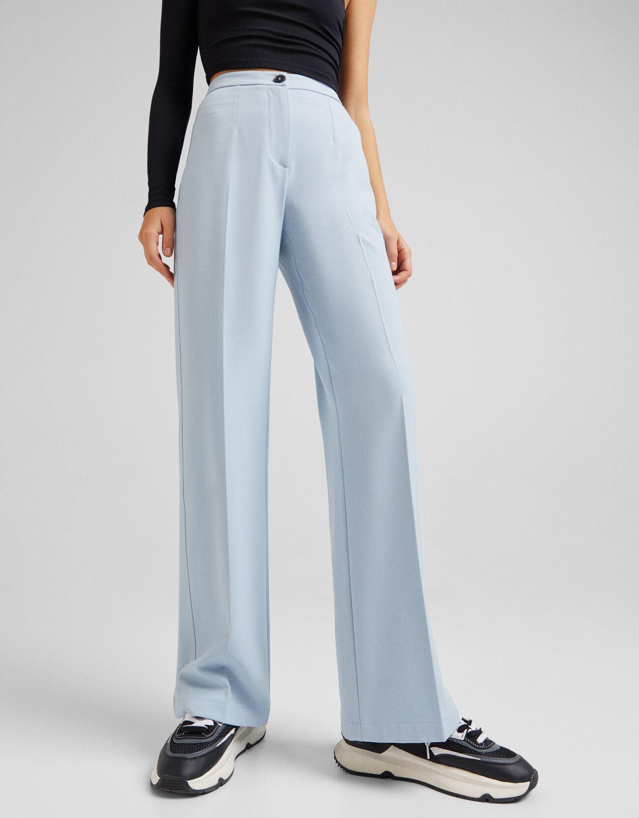 Голубой Широкие брюки с карманом сзади Bershka