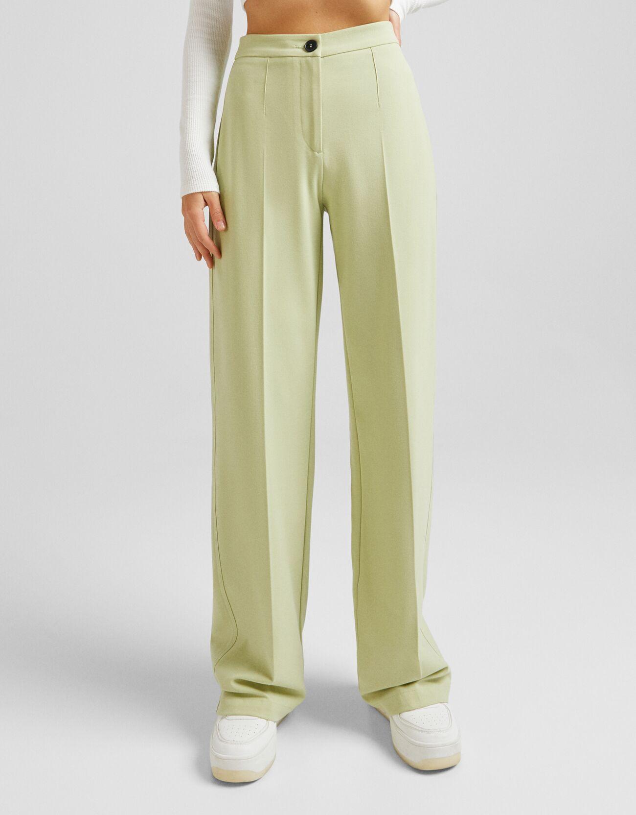 Зеленый Широкие брюки с карманом сзади Bershka
