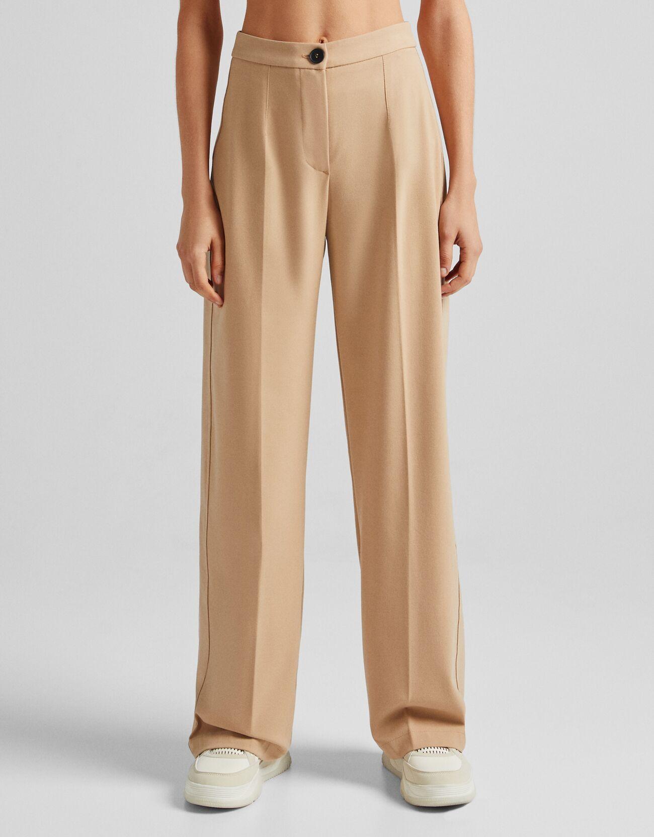 Bershka Pantalón Wide Leg Bolsillo Trasero Mujer 32 Camel