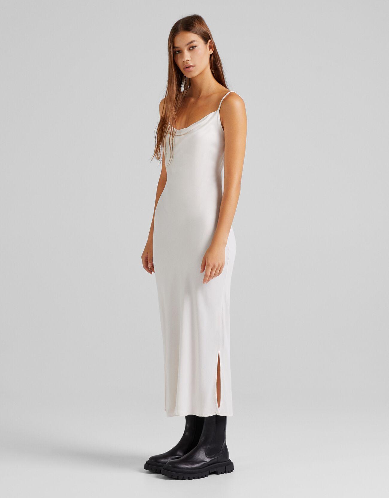 Платье миди в бельевом стиле из сатина Бежевый Bershka
