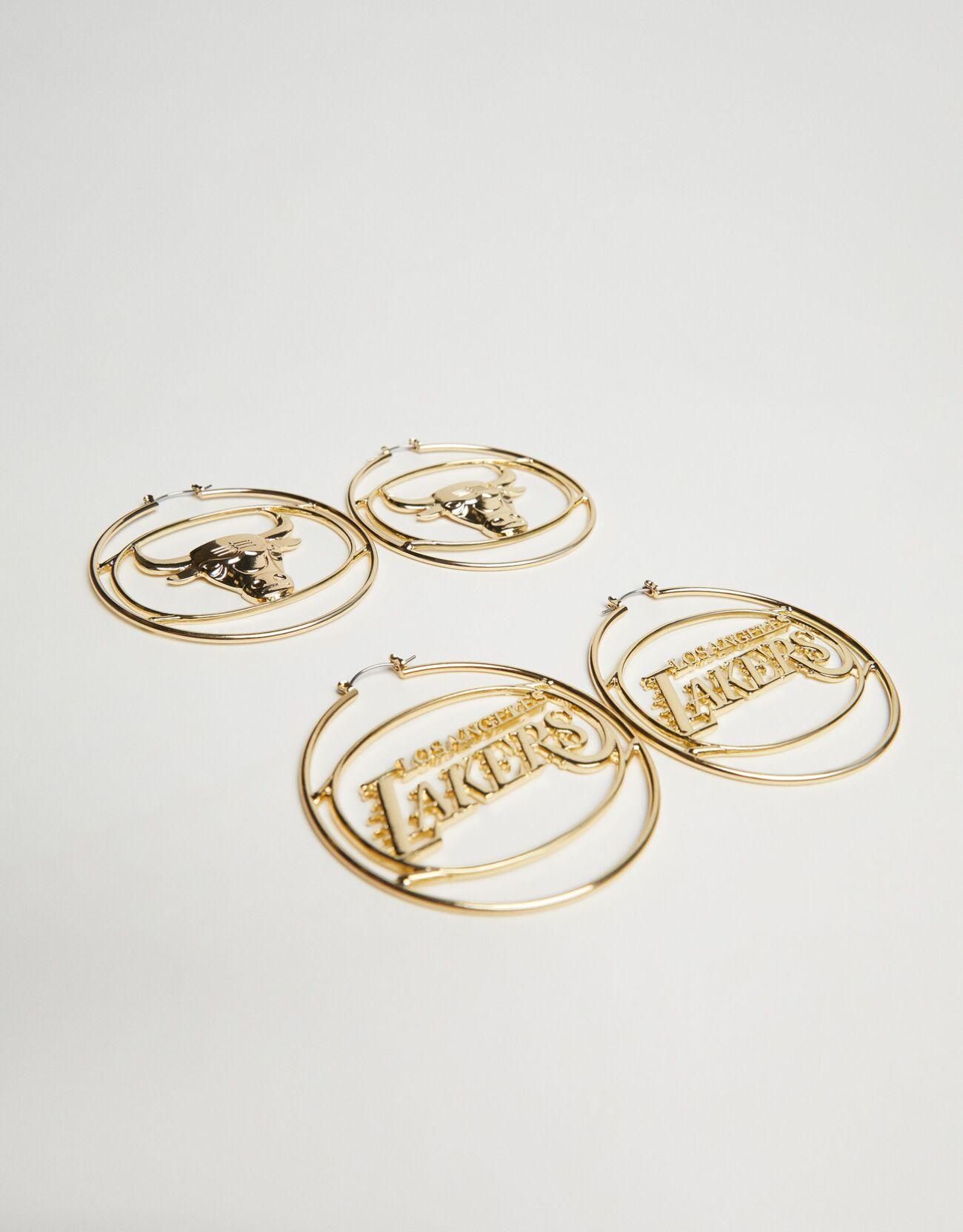 Bershka Set 2 Pendientes Nba + Bershka Mujer Oro