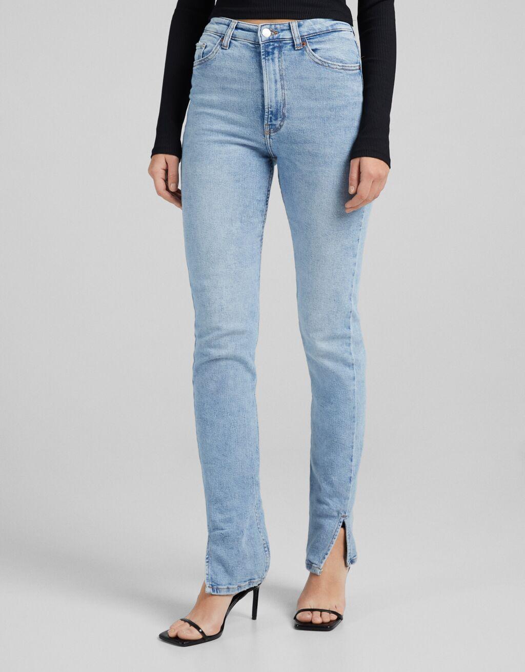 High waist skinny jeans with slit