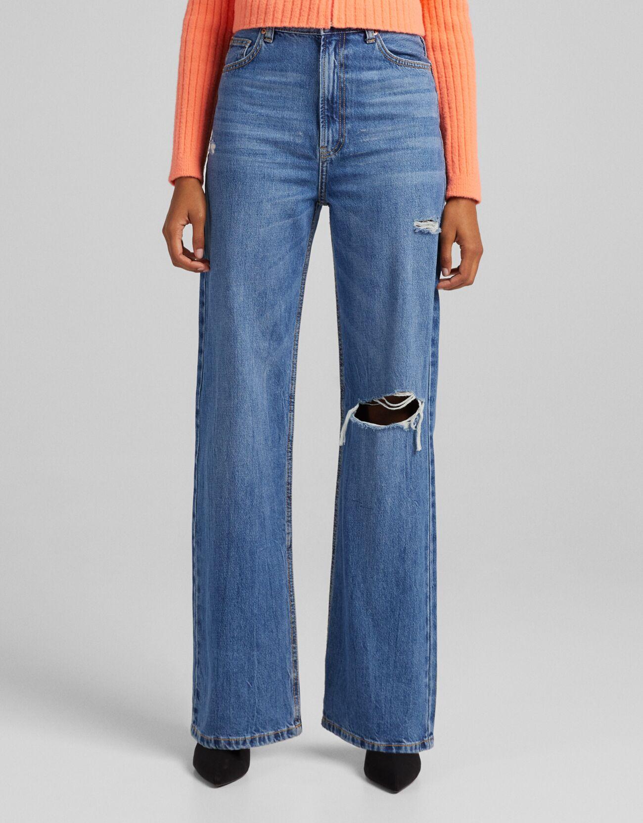 Джинсы в стиле 90-х с широкими штанинами и разрезами Синий Bershka