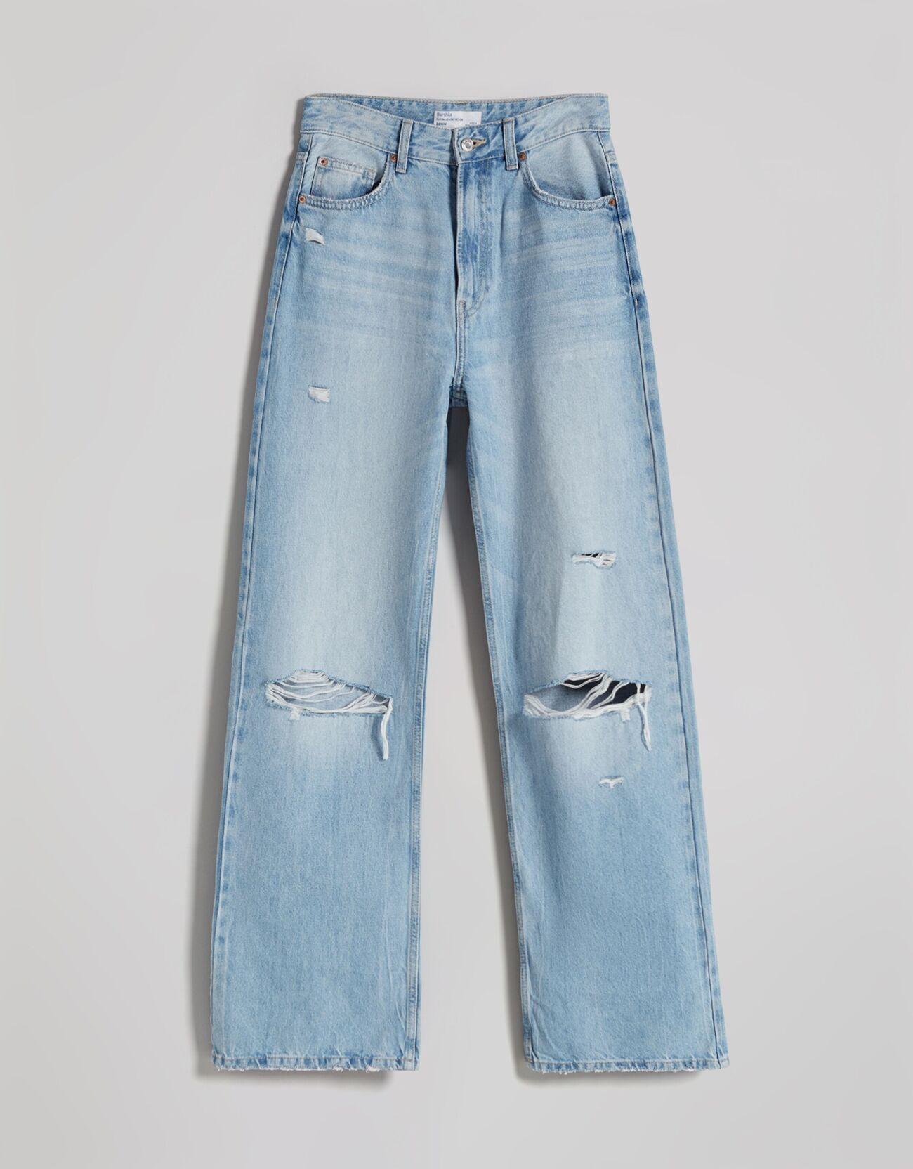 Джинсы в стиле 90-х с широкими штанинами и разрезами Синий застиранный Bershka