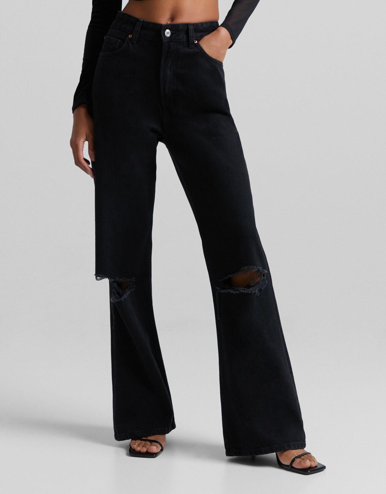 Черный Джинсы в стиле 90-х с широкими штанинами и разрезами Bershka