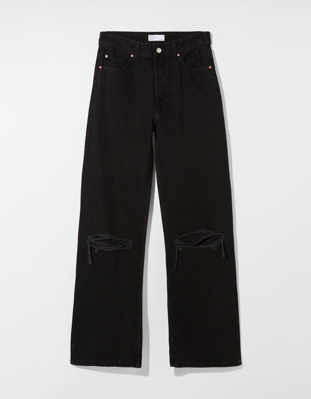 Джинсы в стиле 90-х с широкими штанинами и разрезами Черный Bershka