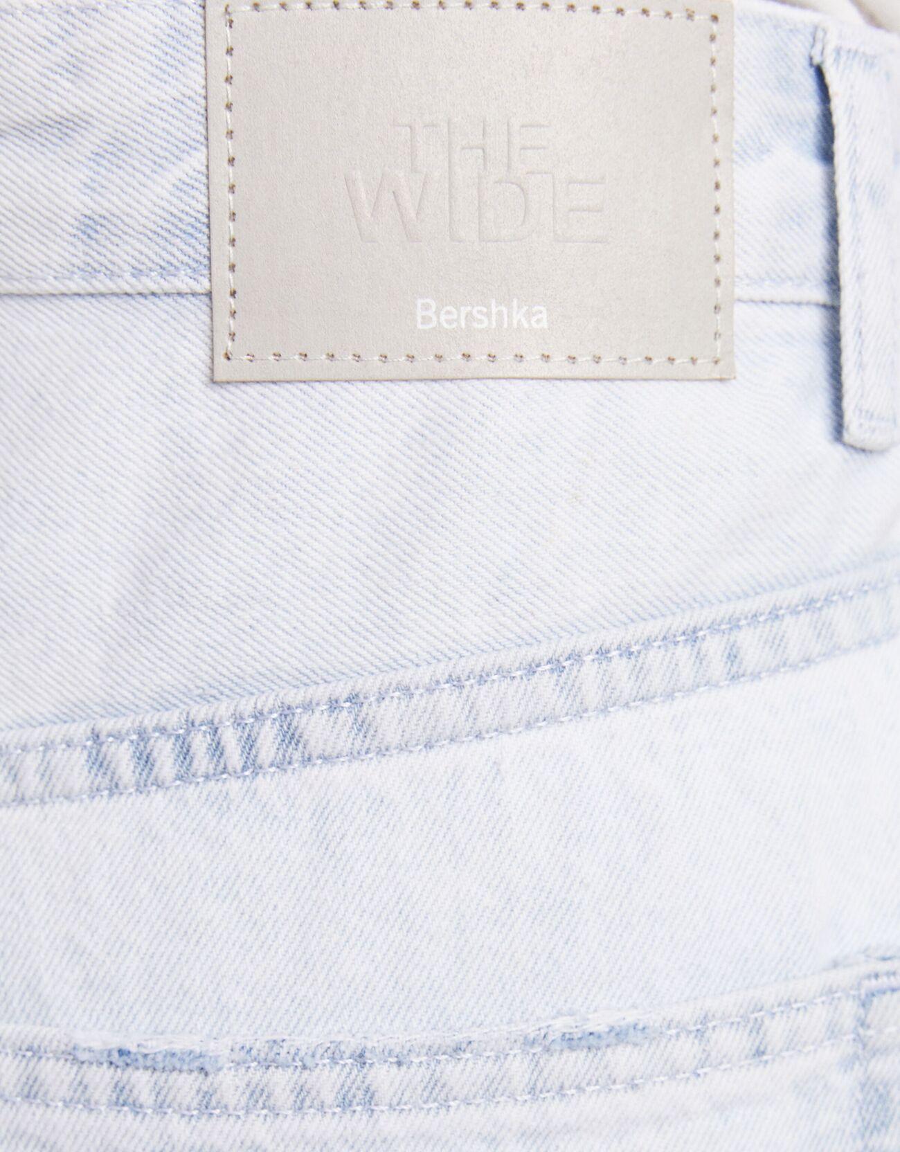 Широкие джинсы Голубой Bershka