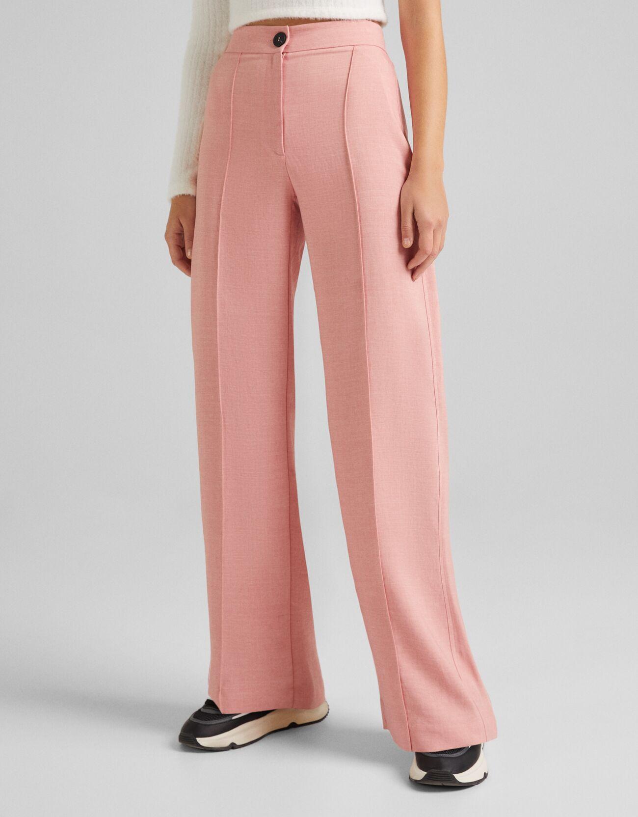 Розовый Брюки свободного кроя с широкими штанинами Bershka