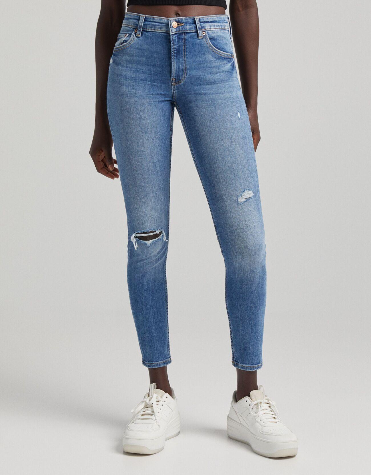 Bershka Jeans Skinny Low Waist Donna 46 (Eu 42) Azzurro
