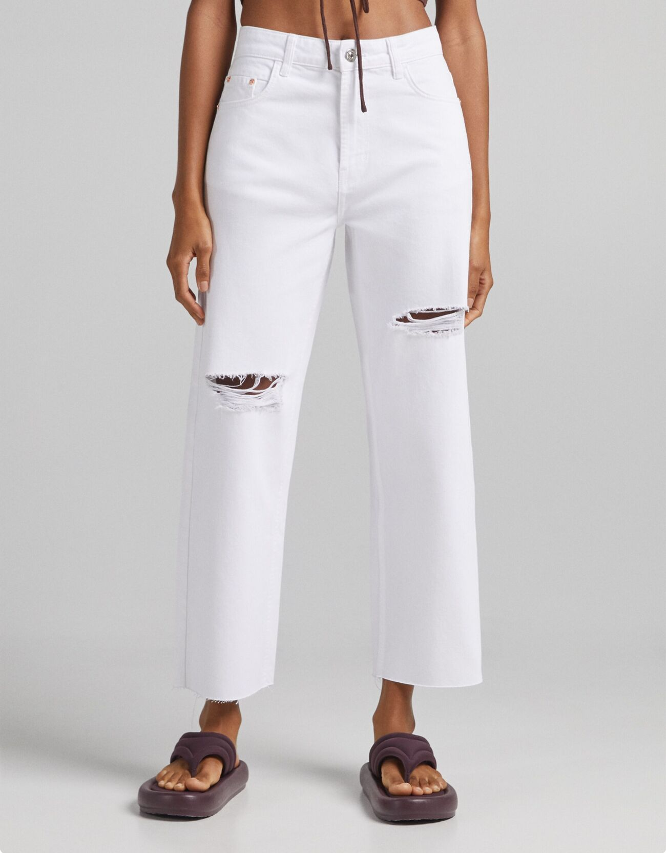 Bershka Pantalón Sarga Straight Mujer 44 Blanco