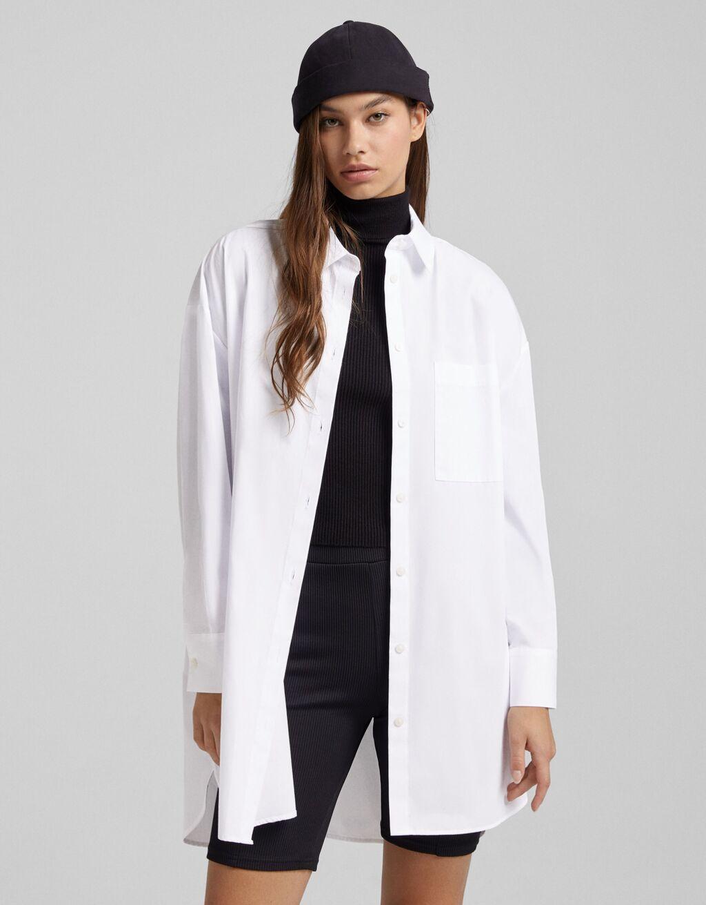 Long sleeve oversize poplin shirt