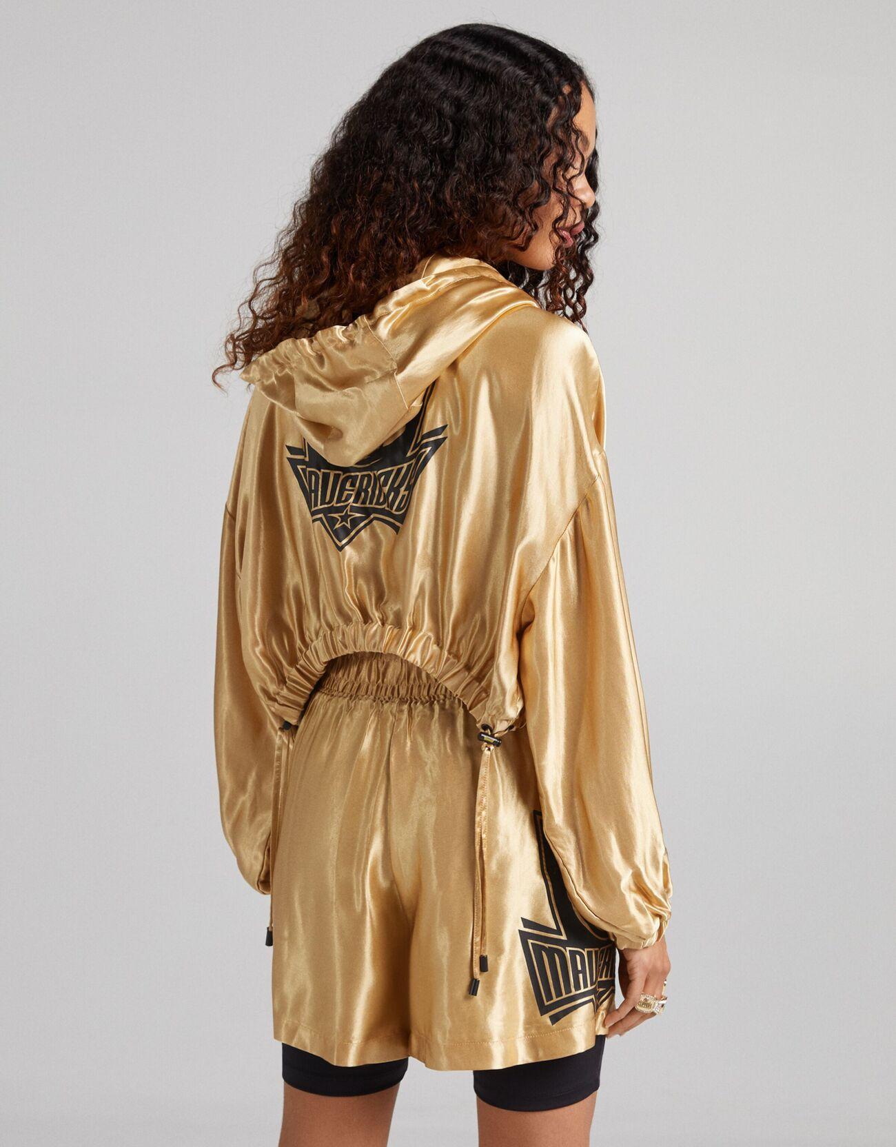 Укороченная куртка из сатина NBA + Bershka с капюшоном Золотой Bershka