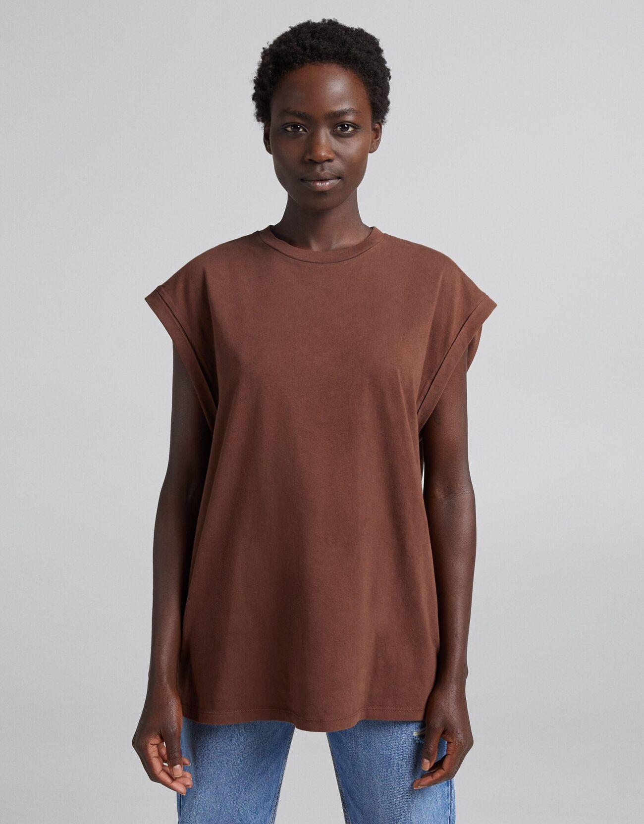 Bershka Camiseta Oversize Efecto Lavado Mujer L Marrón