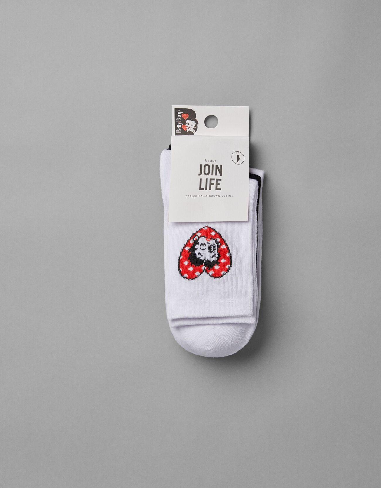 Bershka 3'Lü Betty Boop Çorap Paketi Kadin Siyah