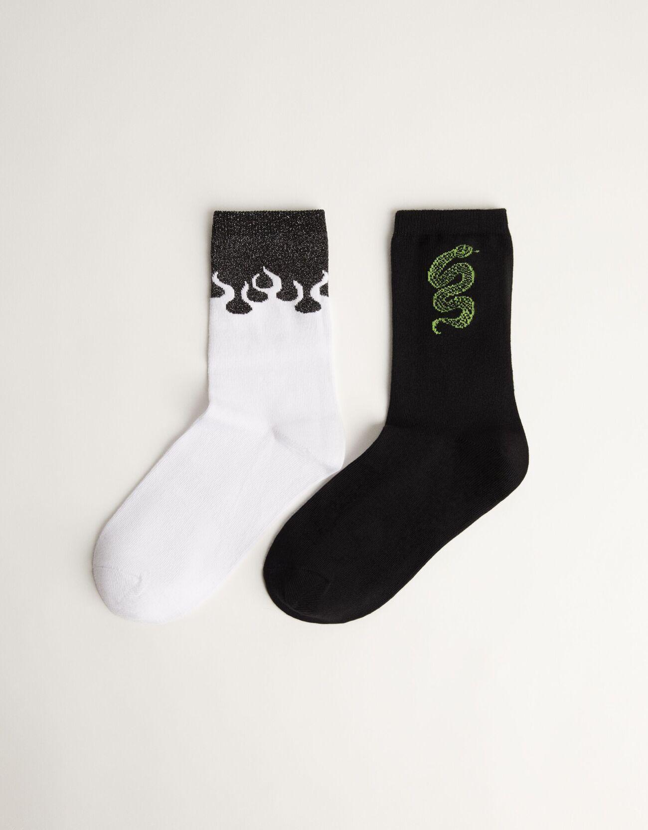 Bershka 2'Lü Desenli Çorap Paketi. Kadın Siyah