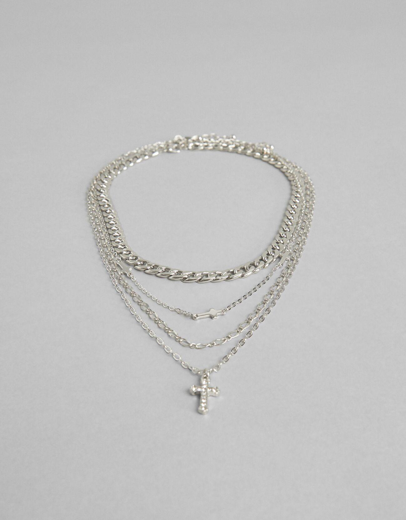 Bershka 4'Lü Sembollü Kolye Seti Kadın Gümüş