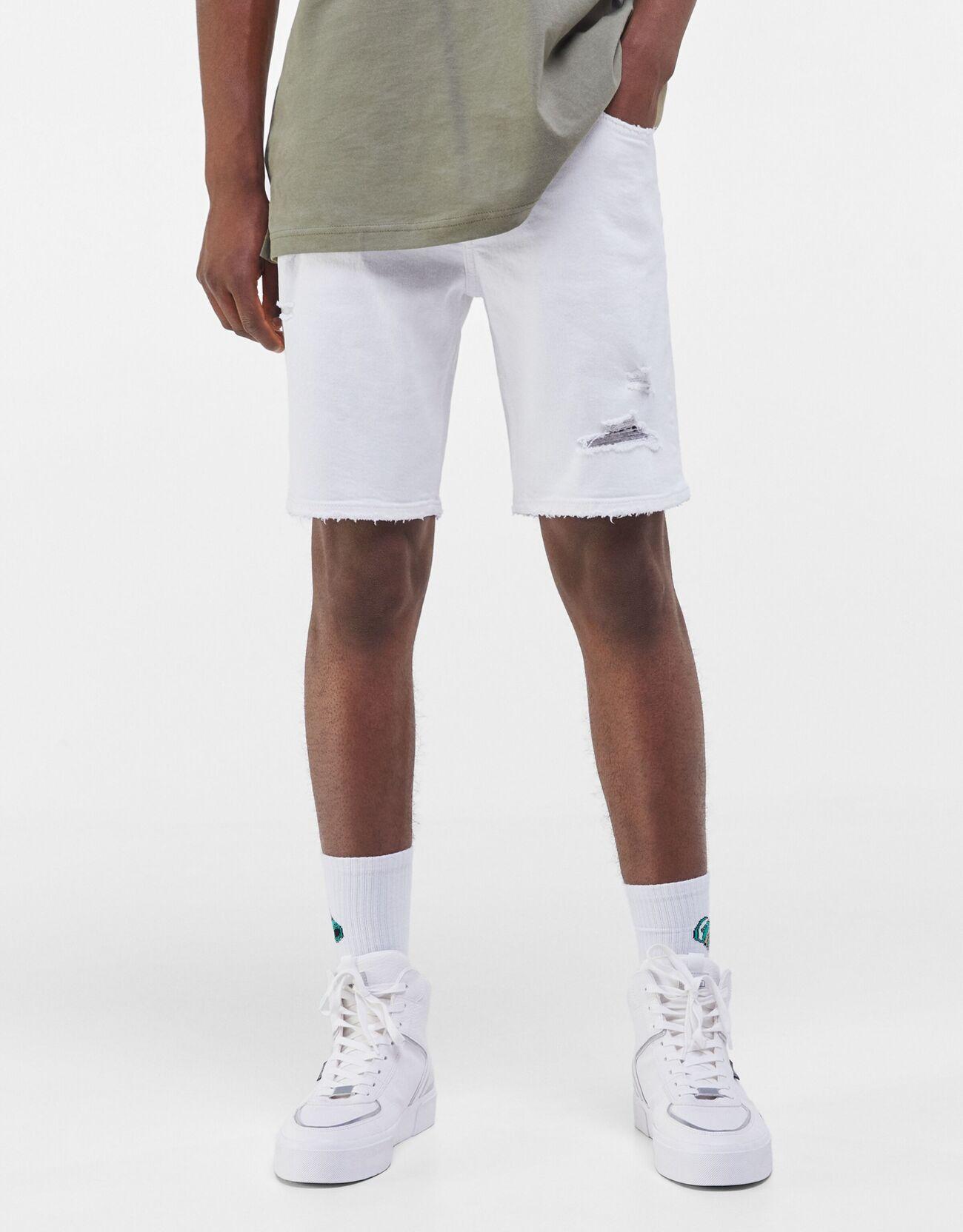 Bershka Bermuda Denim Skinny Rotos Hombre 34 Blanco