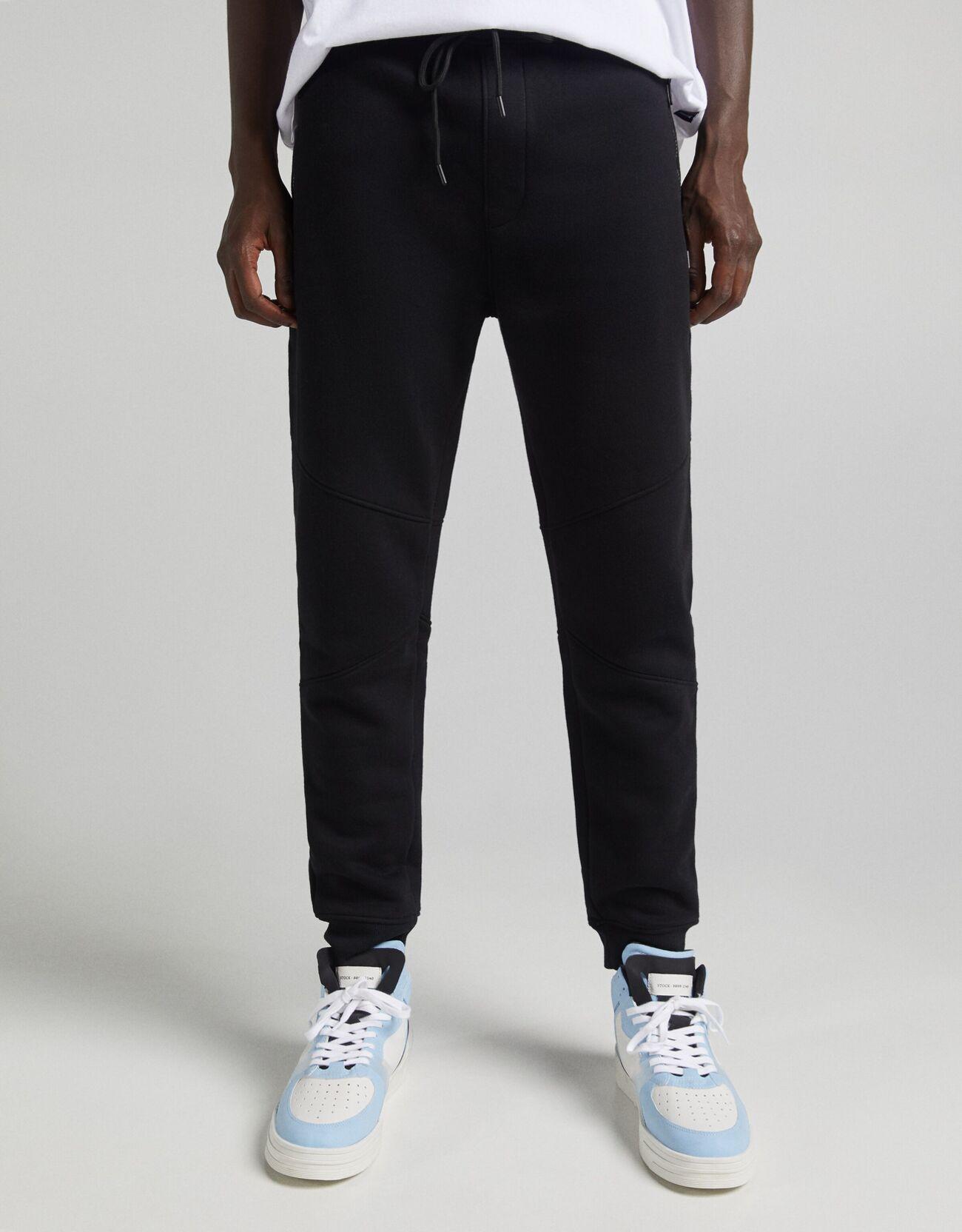 Bershka Pantalón Jogger Cremalleras Hombre L Negro