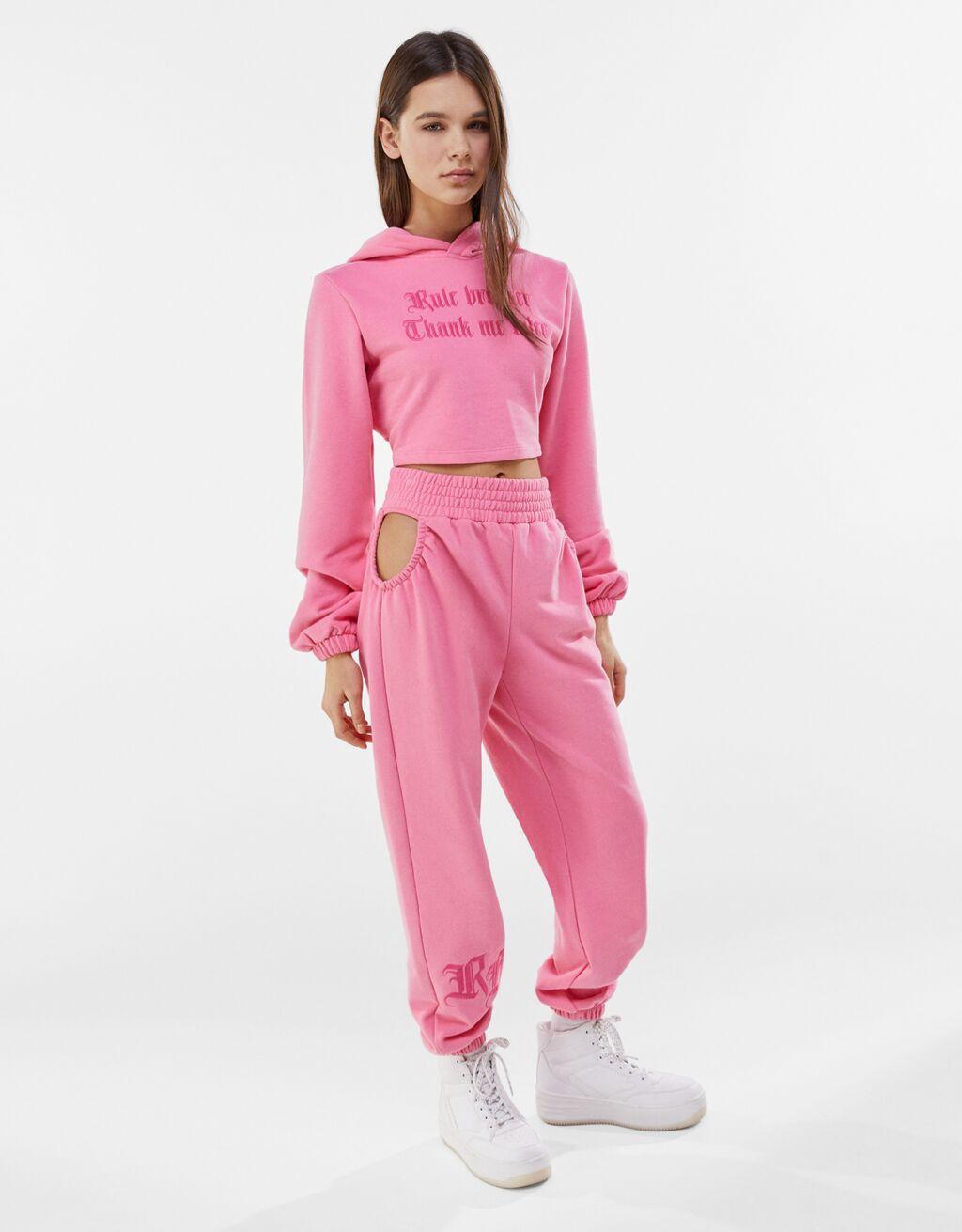 Conjunto de sweatshirt e calças-Rosa-0