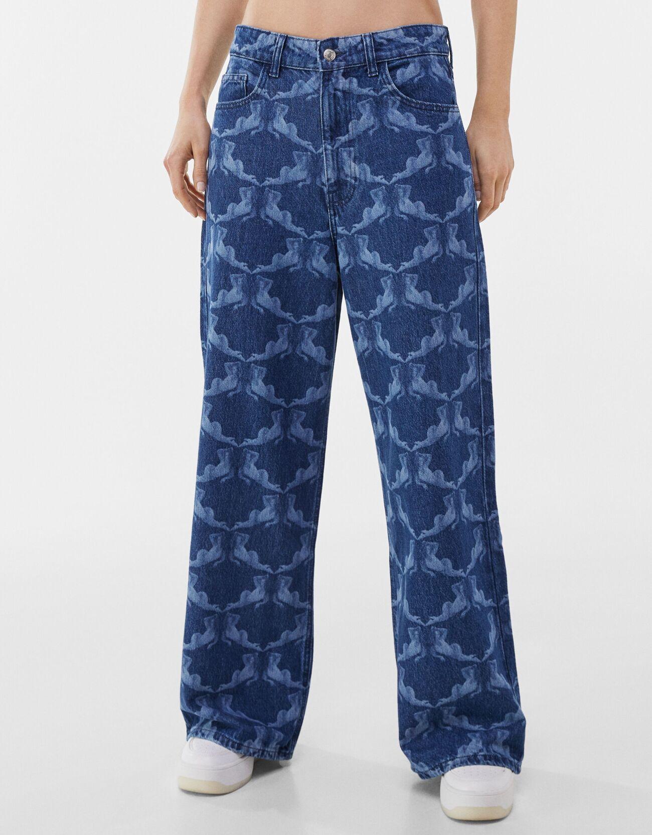 bershka -  Baggy-Jeans Mit Print Paloma Mami X  Damen 40 Ausgewaschenes Blau