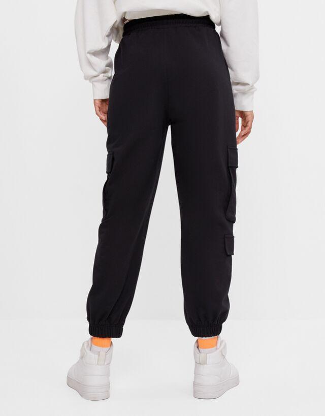 Pantalon Jogger Cargo Felpa Pantalones Mujer Bershka