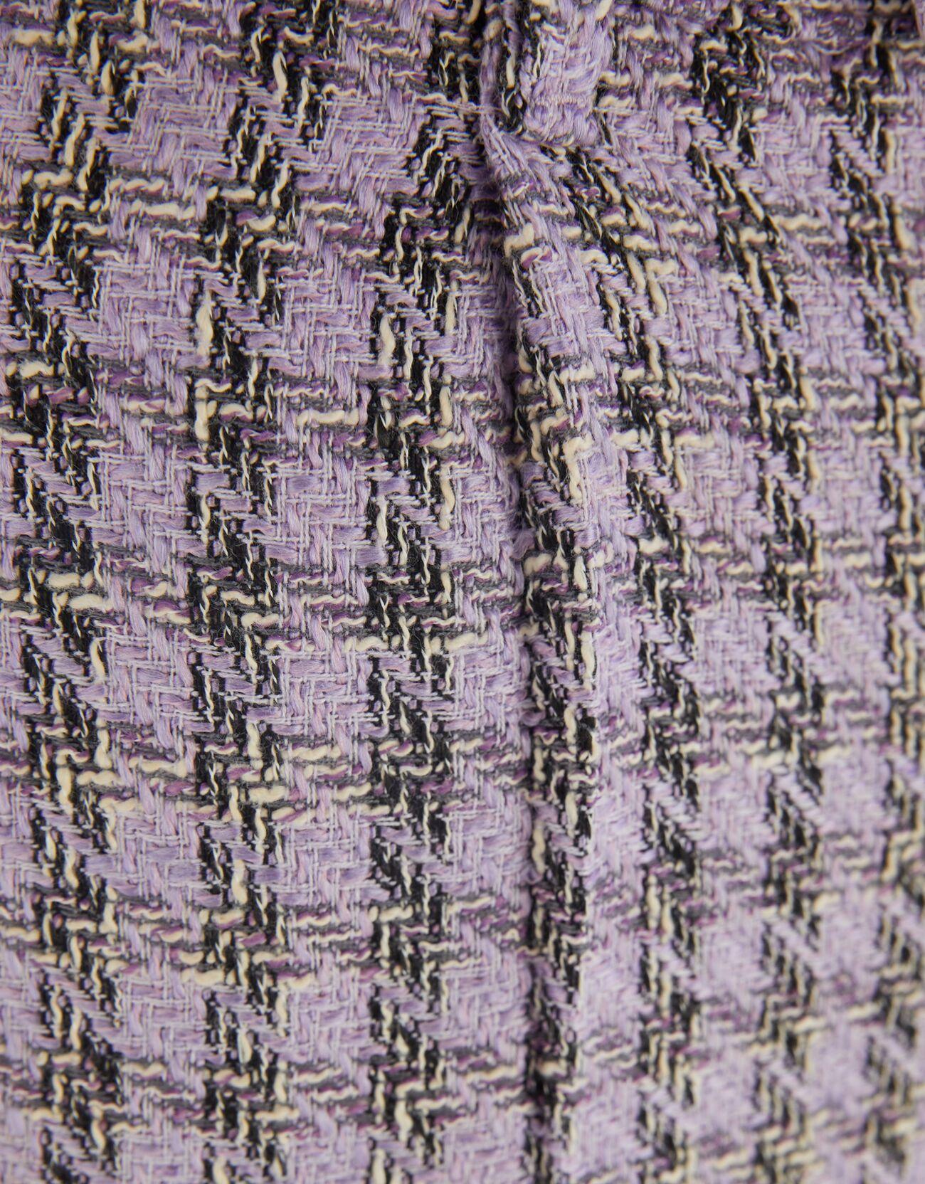 Брюки прямого кроя из искусственной шерсти в клетку Фиолетовый Bershka