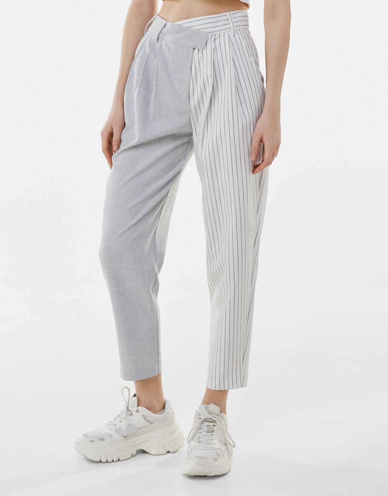 Серый Комбинированные брюки зауженного кроя Bershka