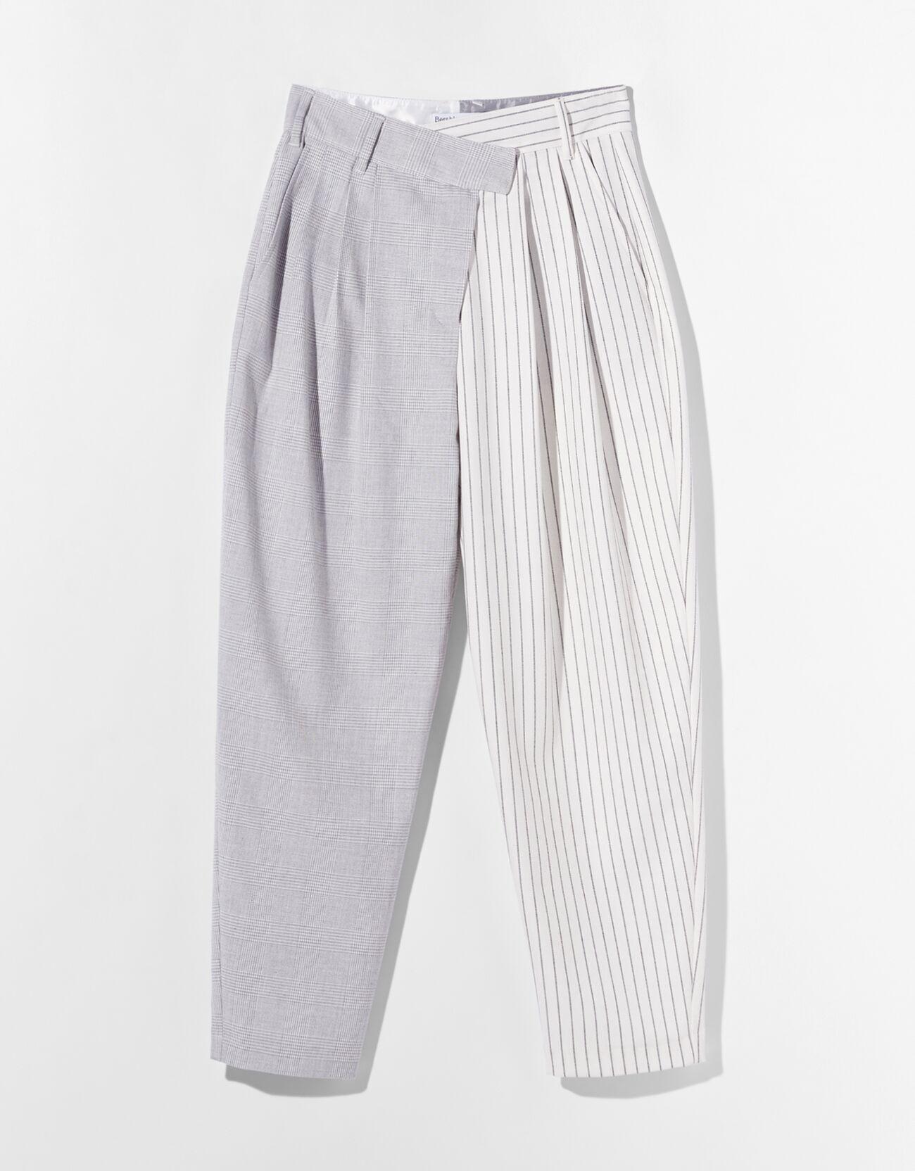 Комбинированные брюки зауженного кроя Серый Bershka
