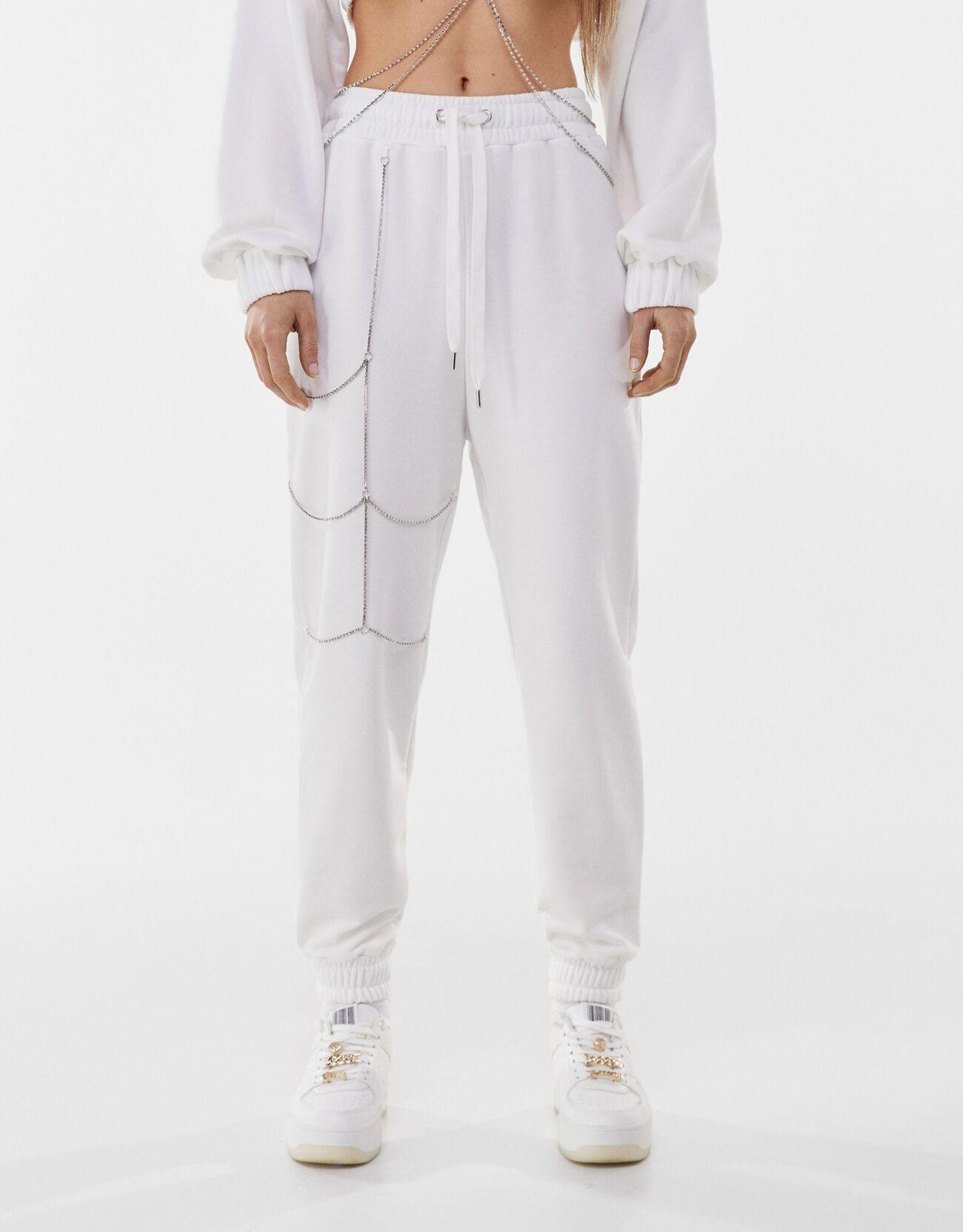 Bershka Pantalon Molleton Strass Paloma Mami X Bershka Femme Xs Blanc Cassé