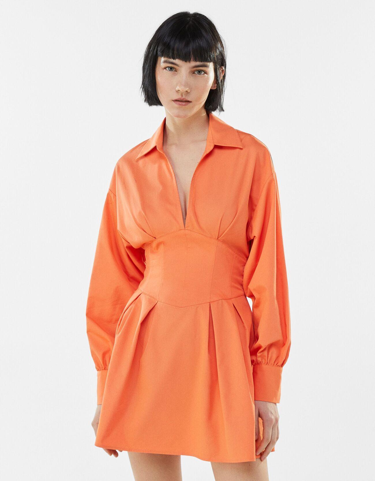 bershka -  Hemdkleid Mit Korsett Und Schleife Am Rücken Damen Xs Orange