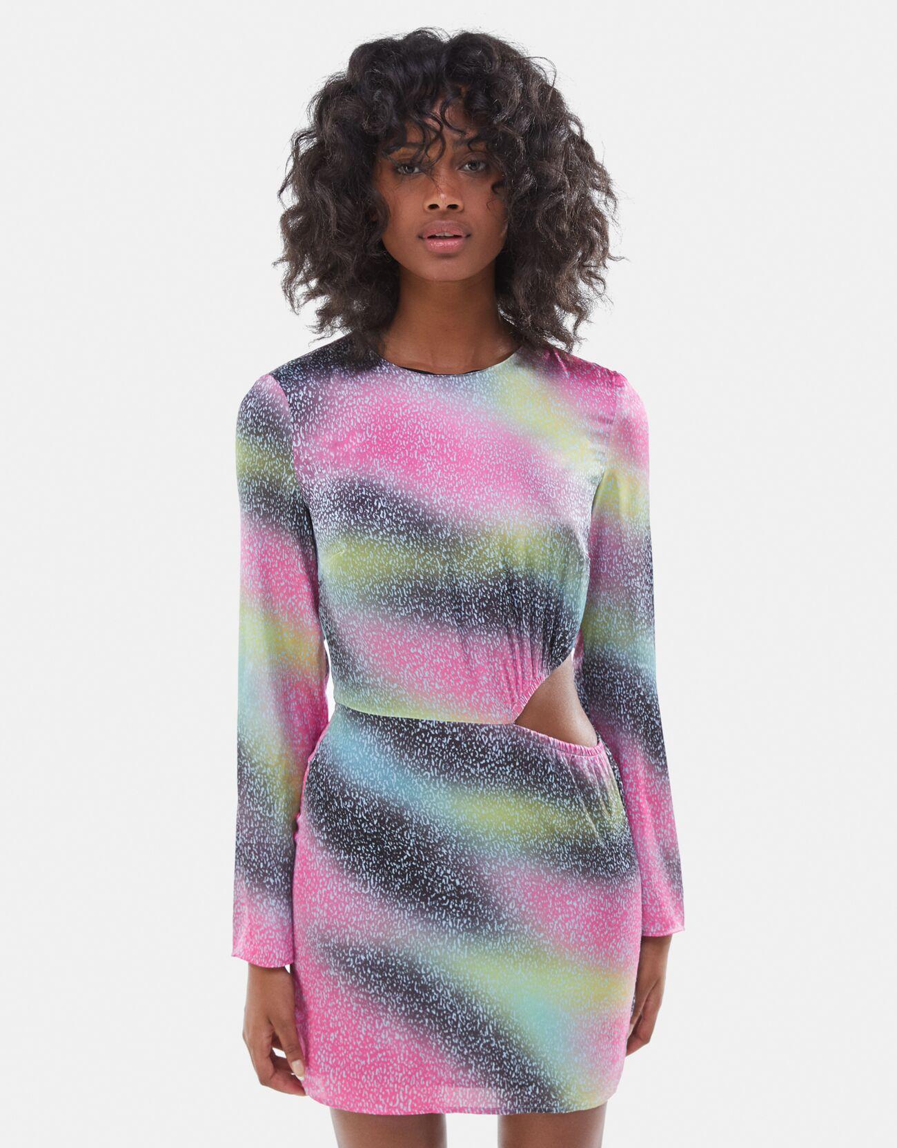 bershka -  Kleid In Satinoptik Mit Print Und Cut-Outs Damen Xs Fuchsia