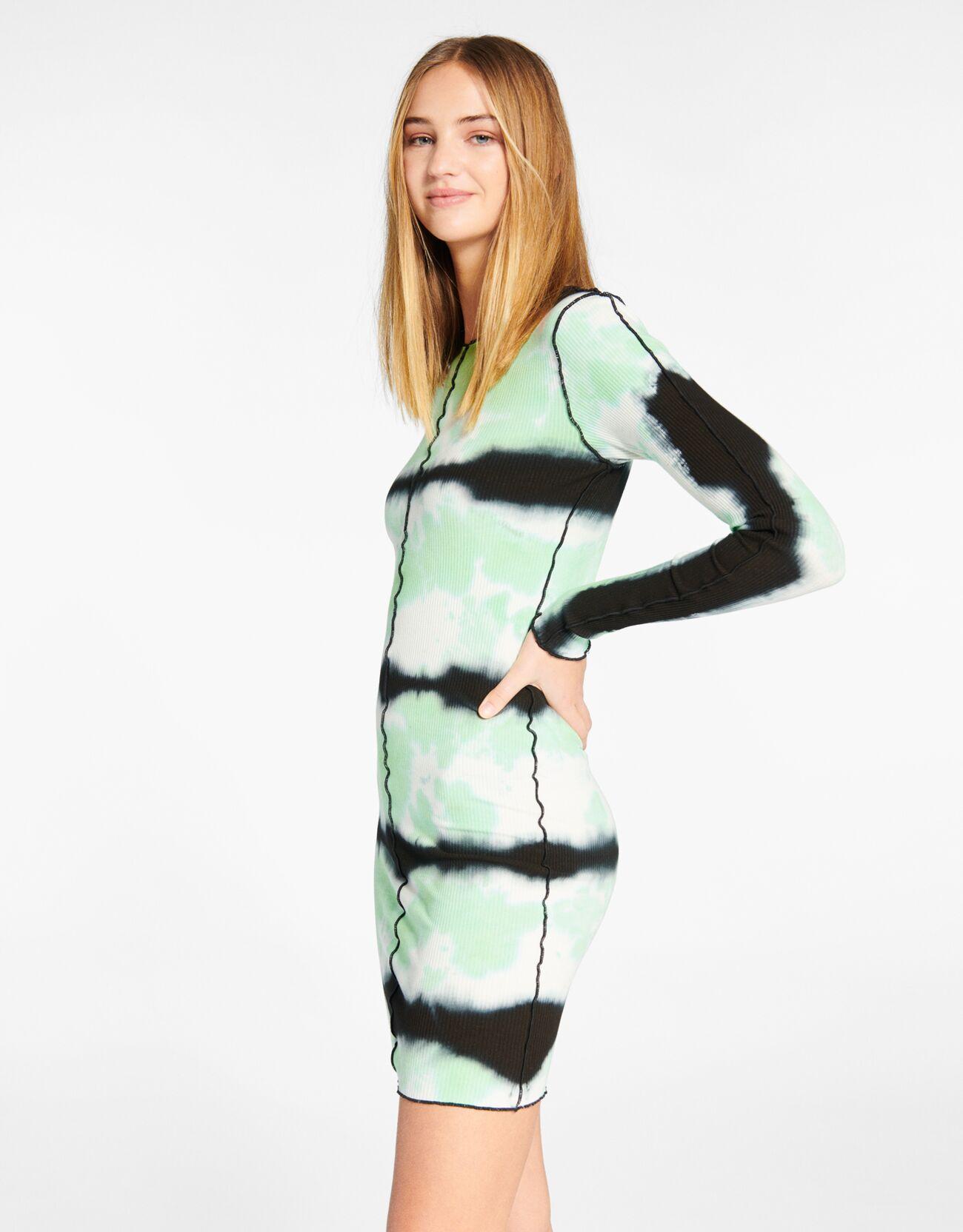 bershka -  Gekräuseltes Kleid Mit Tie-Dye-Print Und Schlitzen Damen L Grün