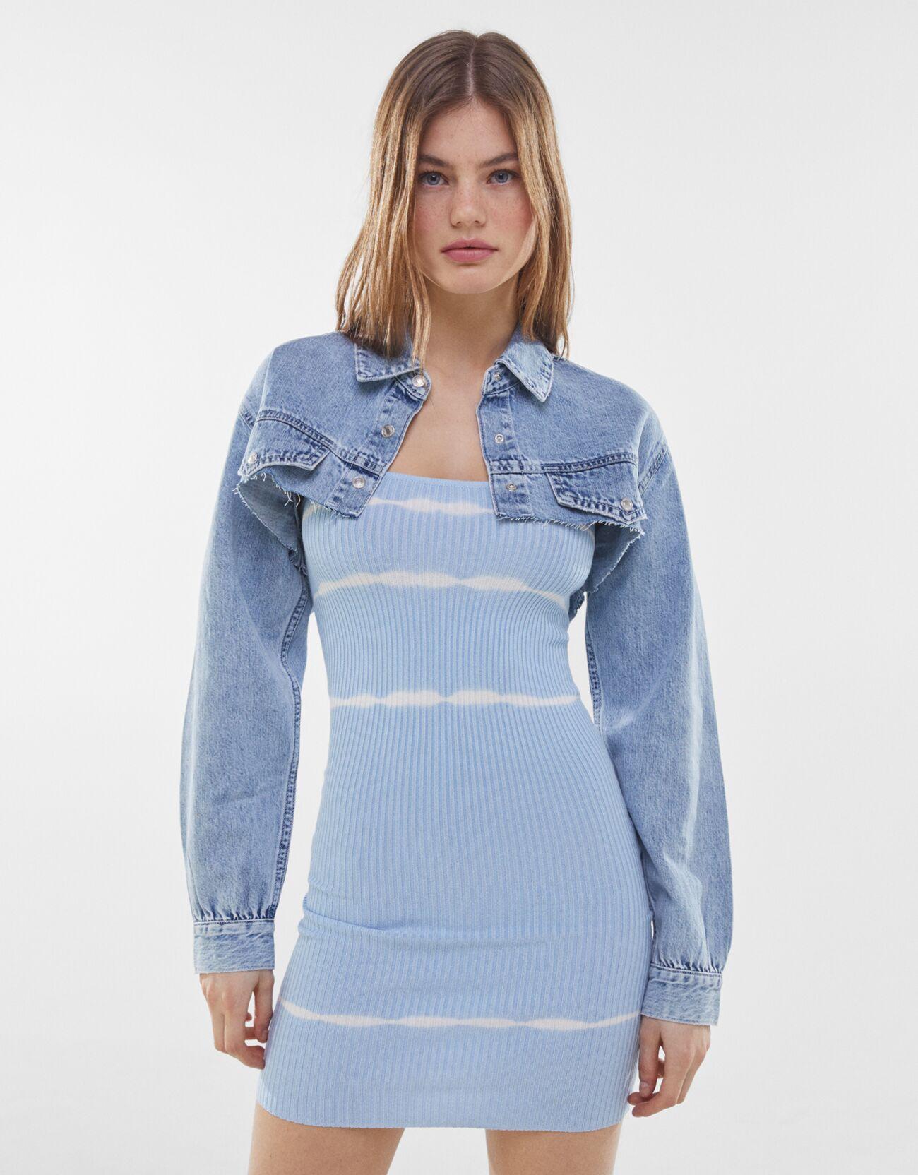 bershka -  Cropped-Jeanshemd Damen M Ausgewaschenes Blau