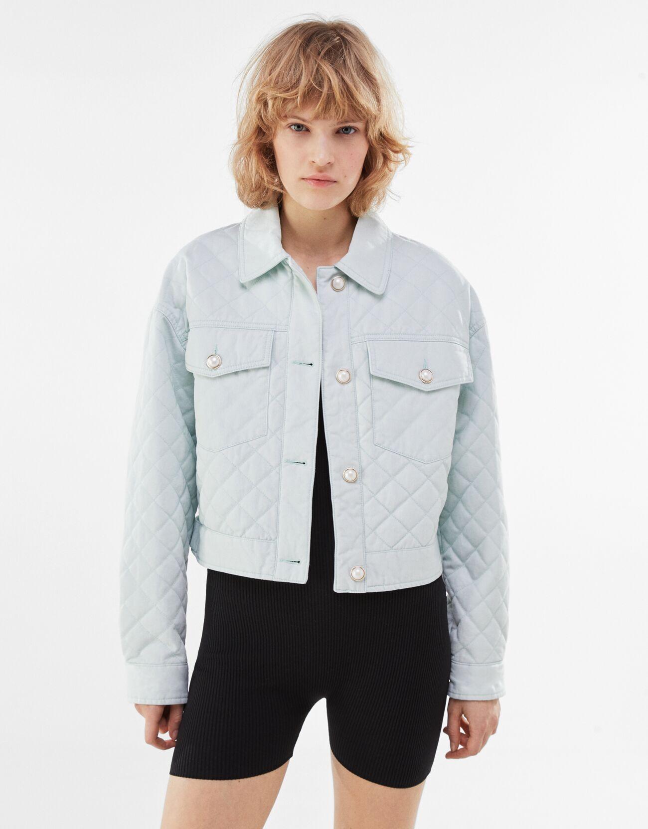 Artikel klicken und genauer betrachten! - Jacke Aus Baumwolle Mit Knöpfen Color: Grün Size: L Material: Baumwolle;Polyester Farbe:Grün Größe: L   im Online Shop kaufen