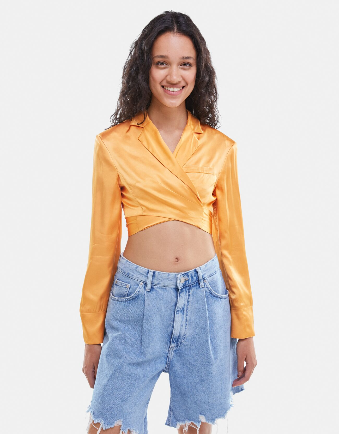 bershka -  Cropped-Blazer In Satinoptik Damen S Orange