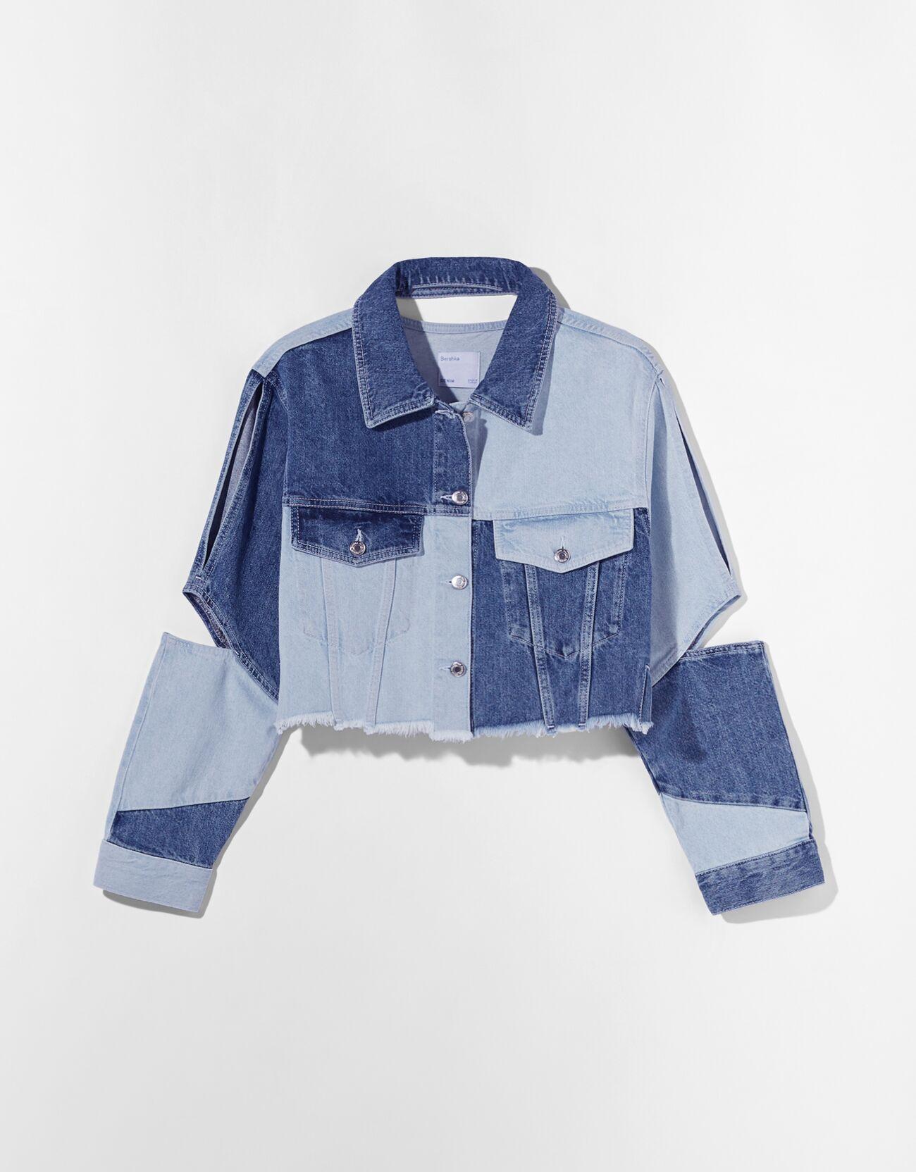Двухцветная джинсовая куртка с вырезами Синий застиранный Bershka
