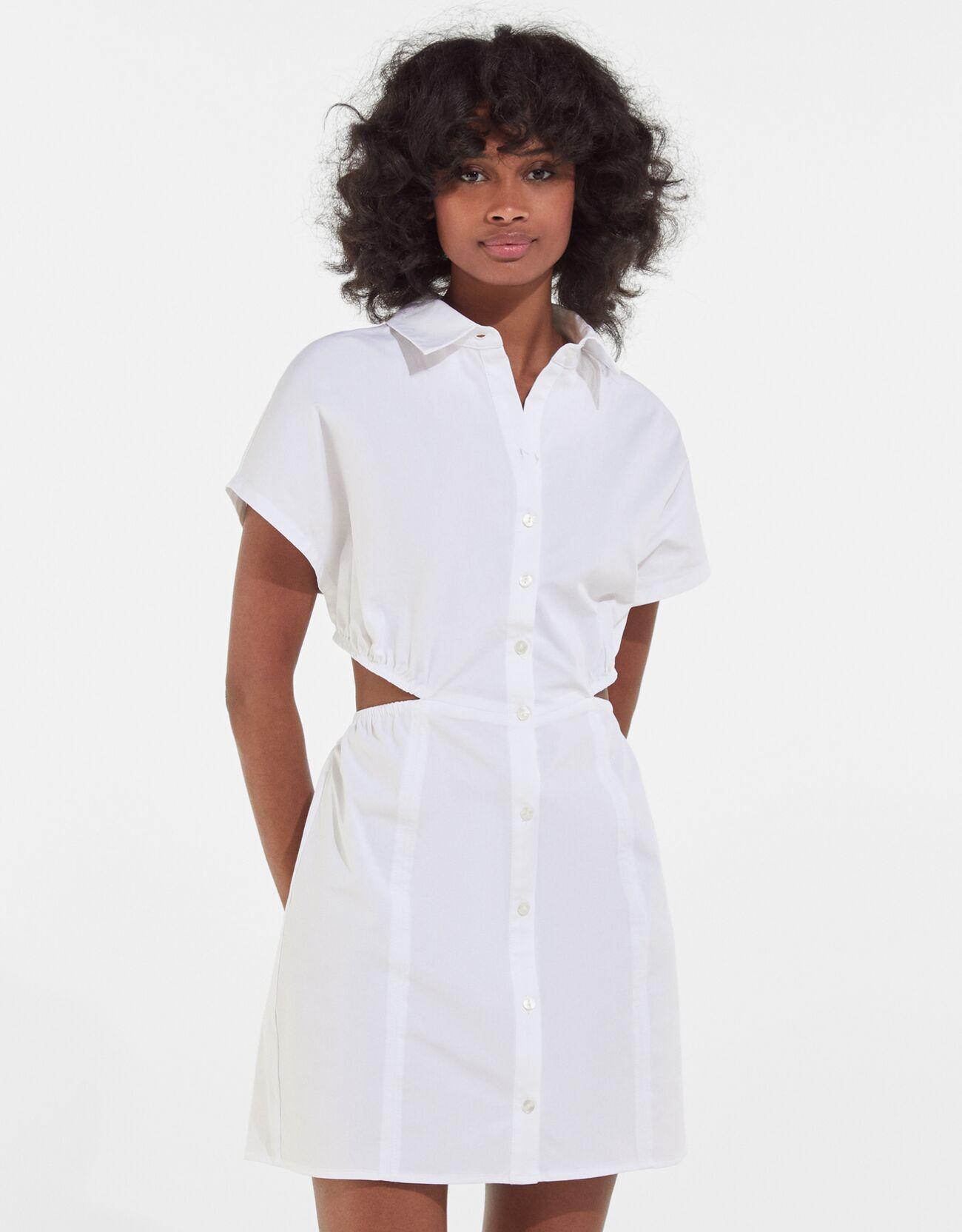 bershka -  Rückenfreies Popelin-Hemdkleid Damen L Rohweiß