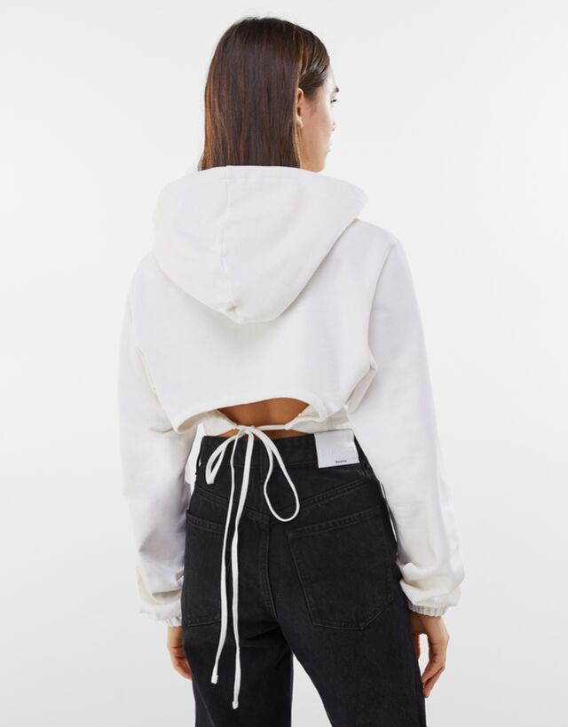 Sırtı pencere detaylı kapüşonlu sweatshirt - Bershka
