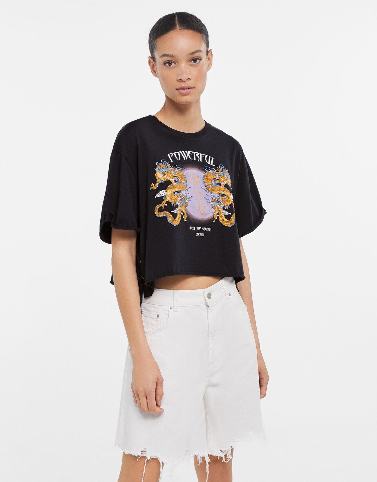 bershka -  T-Shirt Mit Print Damen L Schwarz